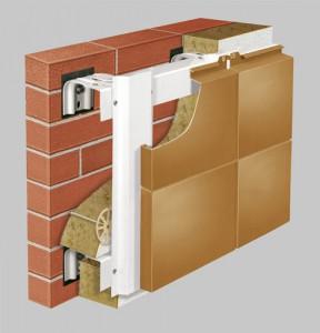 Вертикально-горизонтальная система с облицовкой металлокассетами закрытого типа крепления