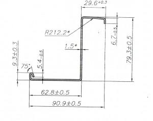 Металлический профиль дверной 90,9*79,3*1,5